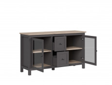 Modern Glass Fronted Display Sideboard Cabinet Unit Drawers Grey/Oak Effect - Bocage