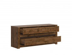Classic Large Chest of Four Drawers Storage Unit Dark Oak/Grey - Kada (S404-KOM4S-DARL-KPL01)