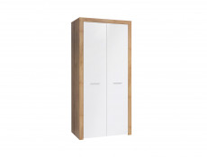 Two Door Double Wardrobe White Gloss Oak finish 90cm wide - Balder