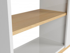 Modern Open Bookcase Shelving Storage 110 cm Unit White Gloss/Oak Finish – Denton (S416-REG1D/120/110-DP/BIP-KPL01)