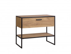 Industrial Loft Vanity Bathroom Cabinet Drawer 90cm Unit for Counter Top Sink Black Metal Frame Oak - Brooklyn
