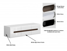 White Gloss Wide TV Stand Cabinet Entertainment 150cm Unit with Wenge/White/Black Gloss Insert - Azteca Trio (S504-RTV2D2S/4/15-BI/BIP-KPL01)