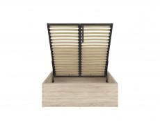 Modern Sturdy Ottoman Small Double Bed Frame Gas Lift Up Storage Sonoma Oak - Tetrix