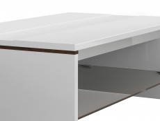 White High Gloss Modern Coffee Table Rectangular with Glass Storage Shelf - Azteca Trio