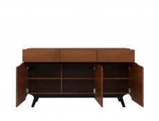 Retro Large 3 Door Sideboard Storage Unit Living Room Furniture Brown Oak - Madison