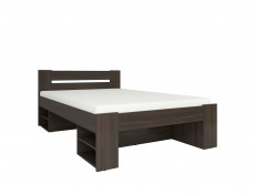Storage Double Bed Frame in Wenge, White or Sonoma Oak Finish with Wooden Slats- Nepo (S301-LOZ3S-DSO-KPL01)