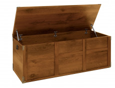 Sturdy Modern Trunk Storage Toy Blanket Ottoman Chest with Lift Up Top in Dark Oak Effect - Indiana (S31-JKUF120-DSU-KPL02)