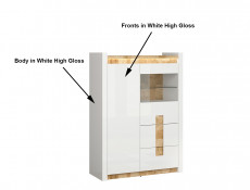 Modern White Gloss Glass Display Cabinet Storage Unit with LED Lights Oak finish top - Alameda (S420-REG1W1D2S-BIP/DWM/BIP-KPL01)