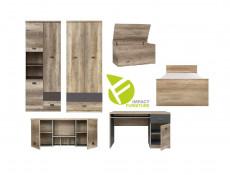 Urban Childs Bedroom Furniture Set 6 Units Student Storage Bedroom Oak Effect and Grey Finish - Malcolm (S325-MALCOLM_6_PIECE_BEDROOM_SET_1-DAMO/SZW/DAMON)