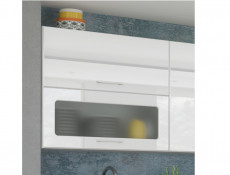 White High Gloss Glass Kitchen Wall Cabinet 80cm Cupboard 800 Display Lift Up Door Unit - Rosi (STO-ROSI-WS80-GRF/2-BI-BIP-KP01)