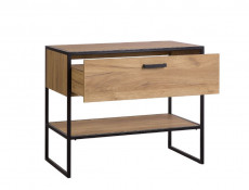 Industrial Loft Vanity Bathroom Cabinet Drawer Countertop Sink 90cm Unit Black Metal Frame Oak - Brooklyn (BROOKLYN_827+CFP-6259_DP-W/B)