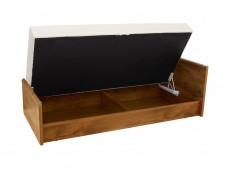 Modern Euro Single Ottoman Lift-Up Storage Bed with Mattress Childs Bedroom in Dark Oak Effect Finish - Indiana (S31-JLOZ90-DSU-TIAGO-MATTRESS-KPL01)