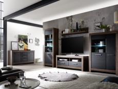 Modern Living Room 2-Door Double Wardrobe Shelf Rail Storage Unit Oak - Balin (S365-SZF2D-DMON-KPL01)