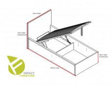 Modern Sturdy Ottoman Single Bed Frame Gas Lift Up Storage Wotan Oak - Tetrix