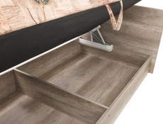 Urban 90cm Euro Single Ottoman Storage Bed Daybed with Bed Frame Includes Mattress Oak Effect Finish - Malcolm