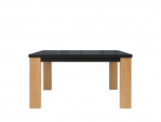 Modern Extendable Dining Table in Black Glass and Oak Wood Veneer - Arosa