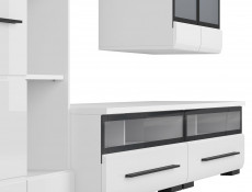Modern 6-Piece Furniture Living Room Set Storage Cabinet Units 280cm White/White Gloss - Fever