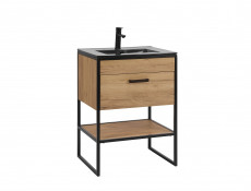 Modern Industrial Bathroom Furniture Set Tall Cabinet Shelving & Sink Unit Oak Black Metal Frame - Brooklin