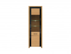 Tall Slim Glass Fronted Display Cabinet with LED Lights in Oak Wood Veneer Black Gloss - Arosa (S346-REG1W-DBC/DNA-KPL01)