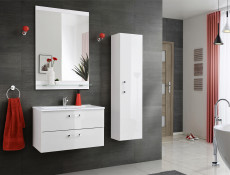 Modern Tall Wall Mounted Bathroom Cabinet Unit White/White Gloss 140cm - Adel (ADEL_800)