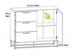 Industrial Large Sideboard Dresser Cabinet Unit with Drawers Metal Legs Light Oak Effect Finish - Gamla (L79-KOM1D3S-GOK-KPL01)