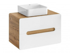 Modern White Gloss / Oak Wall Mounted Bathroom Furniture 5 Piece Set: 80cm Vanity Sink Basin Tall Cabinet - Aruba (ARUBA_829- 5 PIECE SET)