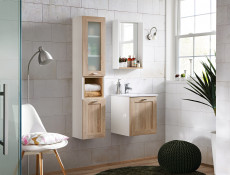 Modern Wall Hung Vanity Cabinet Storage Unit with Ceramic Sink Oak/White Matt - Finka
