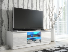 TV Cabinet Unit with LED Glass Shelf White High Gloss - Top E Gloss