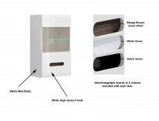 White Gloss Wall Glass Display Cabinet Unit LED Light with White/Wenge/Black Gloss insert - Azteca Trio (S504-SFW1W/10/6-BI/BIP-KPL01)