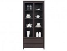 Modern Wide Glass Display Cabinet Tall Dresser in Wenge Dark Brown - Kaspian (S128-REG2W2S-WE/WE-KPL03)