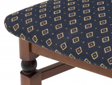 Traditional Dining Chair Solid Wood Walnut finish Navy Gold fabric - Bawaria