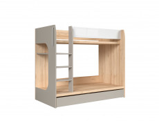Modern Beech Effect Bunk Bed Frame Grey & White Gloss with Storage Drawer - Namek