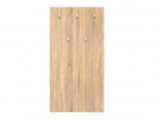 Large Wall Mounted Coat Hooks Hallway Entrance Hall Panel with 5 Hooks in Sonoma Oak Light Wood Effect Finish - Nepo