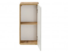 Modern White Gloss / Oak Small Wall Mounted Bathroom Cabinet Storage Unit - Aruba