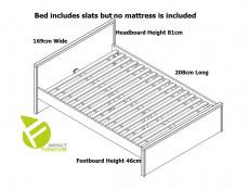 Modern White Gloss Headboard and White Matt Sides European King Size Bed Frame 160 cm Wooden Slats - Pori