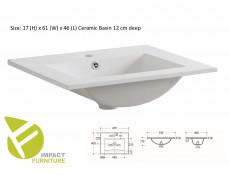 Modern Wall Bathroom Vanity Cabinet & Sink White/White Gloss 60cm - Adel (ADEL_820+UM-60_D)