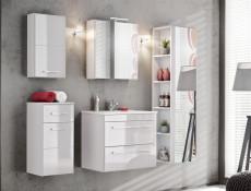 Modern White Mirror Bathroom Storage Cabinet 50cm Wall Unit with Mirrored Door and Shelf - Twist