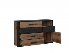 Elegant King Size Bedroom 3-Piece Set Built-in Lift Up Storage Bedside Cabinets Units with Lighting Oak/Black - Kassel