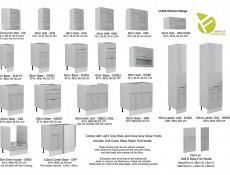 Light Dove Grey Gloss Kitchen Corner Wall Cabinet 60cm Cupboard 1 Door Wall Mounted 600 Unit - Luna
