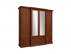 Vintage inspired Four Door Wardrobe with Mirror Chestnut finish - Kent