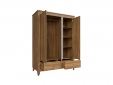 Traditional Light Oak Triple 3-Door Mirrored Wardrobe with Shelves / Drawers Bedroom Storage - Bergen (S359-SZF2D1M2S-MSZ-KPL01)