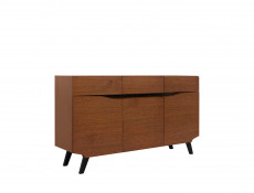 Retro Large 3 Door Sideboard Storage Unit Living Room Furniture Brown Oak - Madison (S431-KOM3D3S-DABR-KPL01)