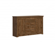 Classic Large 2-Door Sideboard Dresser Cabinet Chest of 4 Drawers Storage Unit Dark Oak - Patras