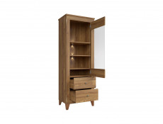 Traditional Tall Glass Display Cabinet with LED Light in Oak finish - Bergen (REG1W2S)