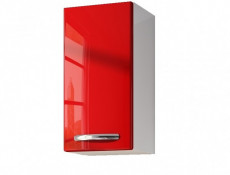 Narrow Small Wall Hanging Bathroom 1 Door Cabinet Red High Gloss - Coral