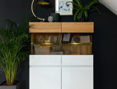 Scandinavian Short Display Glass Cabinet LED Storage Unit Wood White Gloss/Oak - Kioto