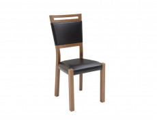 Dining Chair Solid Wood Oak finish Black Eco Leather Seat - Gent