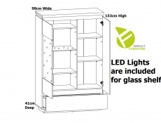 Modern White Gloss / Oak Effect Finish Display Cabinet Glass Tall Shelving Unit with LED Light - Erla