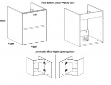 Modern Wall Hung Vanity Cabinet Storage Unit with Ceramic Sink Oak/White Matt - Finka