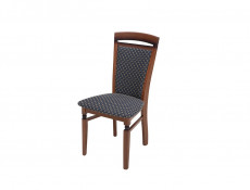 Traditional Dining Chair Solid Wood Walnut Finish Navy Gold Fabric - Bawaria (D09-TXK_DKRSII-TX012-1/1-TK1000)